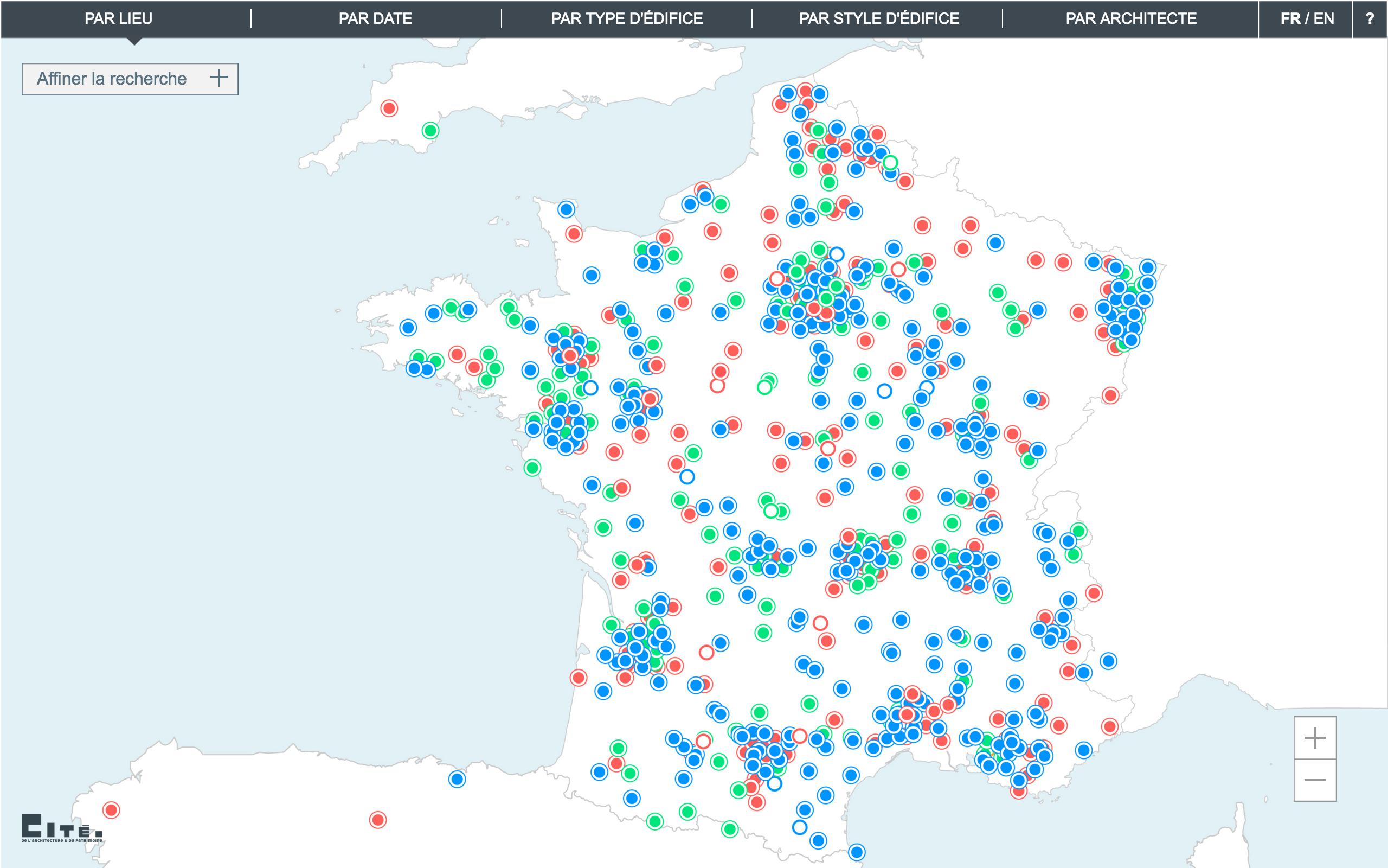 Capture d'écran de la datavisualisation proposée à la Cité