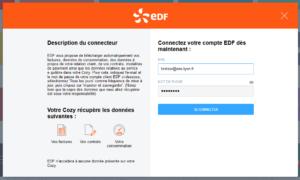 capture d'écran d'une configuration du connecteur EDF sur la plateforme
